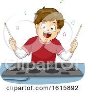 Kid Boy Drum Pad Illustration