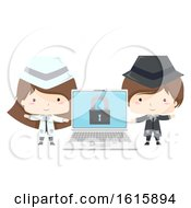 Kids Black White Hacker Laptop Illustration