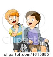Kids Boys Wheelchair Help Illustration