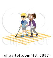 Kids Friend Help Blind Pedestrian Illustration