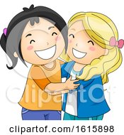 Kids Girlfriends Hug Illustration