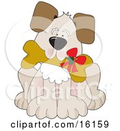Cute Puppy Dog Carrying A Dog Biscut With A Christmas Bow On It by Maria Bell