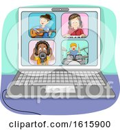 Kids Online Jamming Laptop Illustration