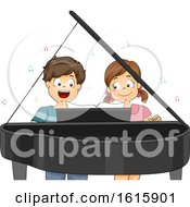 Kids Piano Duet Illustration
