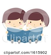 Kids Twins Boy Share Read Book Illustration