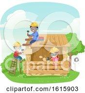 Poster, Art Print Of Stickman Kids Building Wooden House Illustration