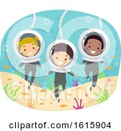Stickman Kids Underwater Sea Walk Illustration