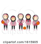 Stickman Kids Girls Muslim Basketball Illustration