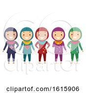 Stickman Kids Girls Muslim Swimwear Illustration