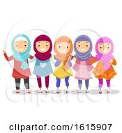 Poster, Art Print Of Stickman Kids Muslim Girls Illustration