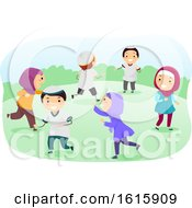 Stickman Kids Muslim Play Running Illustration