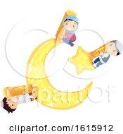 Stickman Kids Muslim Star Moon Symbol Illustration