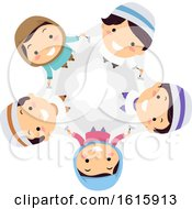 Stickman Kids Muslim Team Illustration