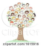 Tree Stickman Kids Heads Illustration