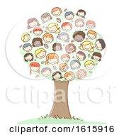 Tree Stickman Kids Heads Illustration