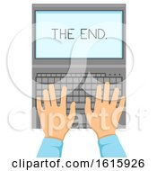 Hand Laptop Creative Writing Illustration