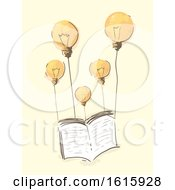 Book Light Bulb Balloons Illustration