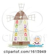 Poster, Art Print Of Kid Girl Netherlands Dutch Windmill Illustration