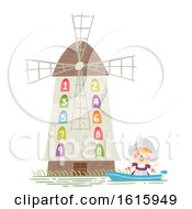 Kid Girl Netherlands Dutch Windmill Illustration