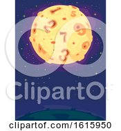 Poster, Art Print Of Moon Craters Numbers Illustration