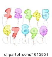 Mylar Balloons Numbers Illustration