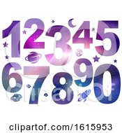 Poster, Art Print Of Numbers Space Theme Illustration