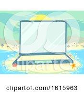 Poster, Art Print Of Laptop Beach Scene Study Illustration