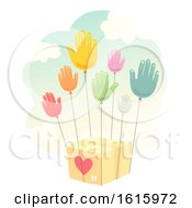 Poster, Art Print Of Donate Hands Balloon Give Box Illustration
