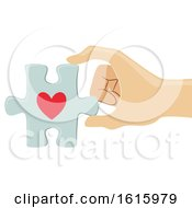 Poster, Art Print Of Hand Organ Donation Heart Puzzle Illustration