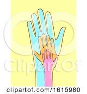 Hands Connected Line Illustration