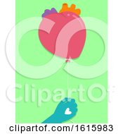 Poster, Art Print Of Hands Heart Balloon Donation Illustration