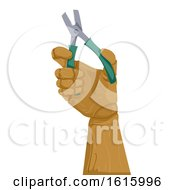 Wooden Hand Pliers Illustration