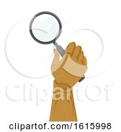 Poster, Art Print Of Wooden Hand Magnifying Glass Illustration