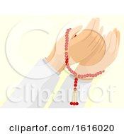 Poster, Art Print Of Hands Misbaha Muslim Pray Illustration