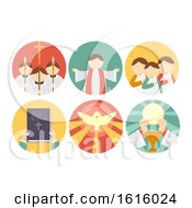 Poster, Art Print Of Parts Of Mass Icons Illustration