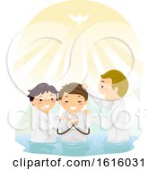 Poster, Art Print Of Stickman Baptism River Illustration