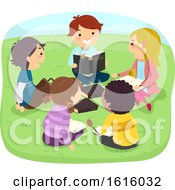 Poster, Art Print Of Stickman Kids Bible Study Outdoor Illustration