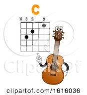 Mascot Guitar Teach Basic Chord Illustration
