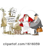 Clipart Of A Group Of Christmas Reindeer On Strike And Santa Talking To An Attorney About The List Of Demands Royalty Free Vector Illustration