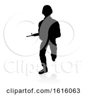 Soldier Detailed Silhouette On A White Background