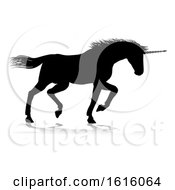 Unicorn Silhouette Horned Horse On A White Background