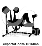 Gym Woman Silhouette Weights Bench Barbell On A White Background