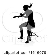 Musician Drummer Silhouette On A White Background