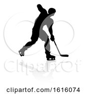 Ice Hockey Player Silhouette On A White Background
