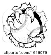 Poster, Art Print Of Baseball Ball Eagle Claw Talons Tearing Background