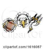 Eagle Football Cartoon Mascot Tearing Background