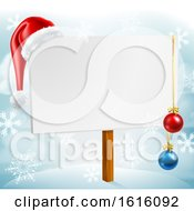 Christmas Sign Santa Hat Baubles Winter Snow Scene