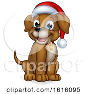 Pet Dog In Christmas Santa Claus Hat