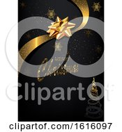 Clipart Of A Merry Christmas Greeting With A Tree Snowflakes And Bow Royalty Free Vector Illustration