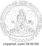 Lineart Merry Christmas And Happy New Year Greeting With A Snowman In A Snow Globe